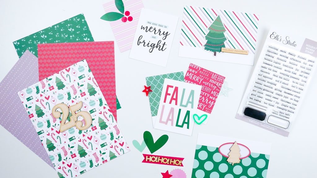 Image showing Christmas themed products from the 2019 Document December kit from Elle's Studio