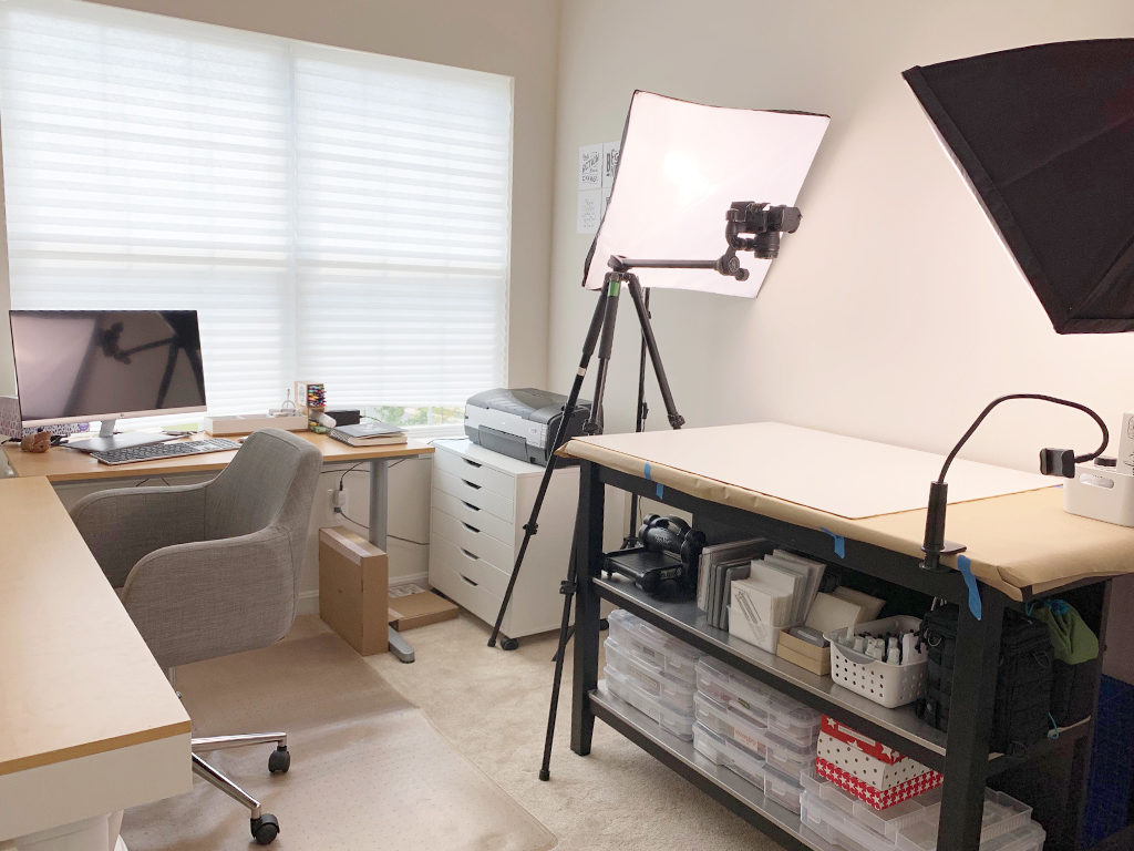View of the photography station setup with softbox lights and tripod