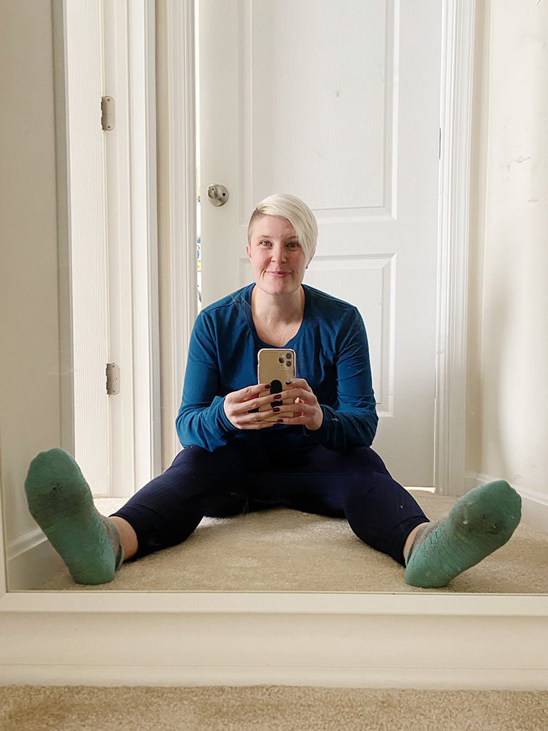 me sitting on the floor in front of the mirror