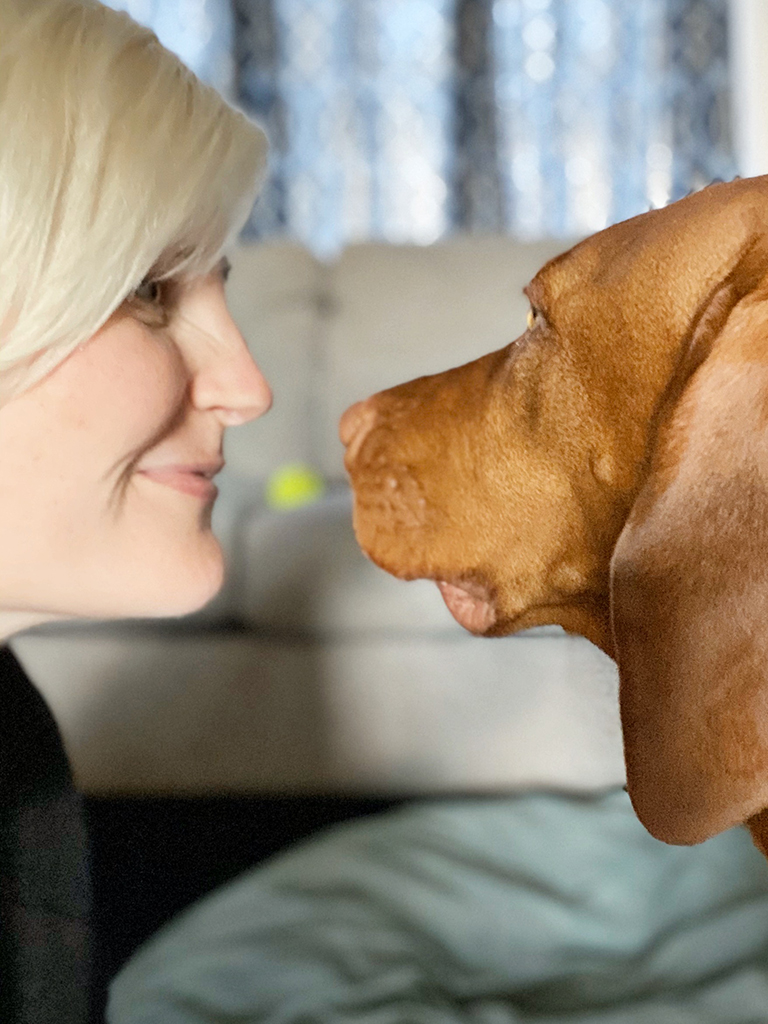 photo of the side of my face nose to nose with my dog