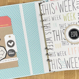 "Photo showing the inside cover of a scrapbook and title page reading ""This Week"" repeated over and over"