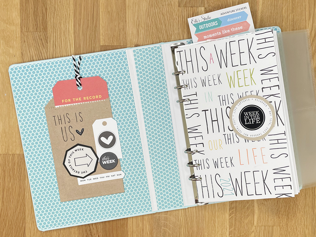 """Photo showing the inside cover of a scrapbook and title page reading """"This Week"""" repeated over and over"""
