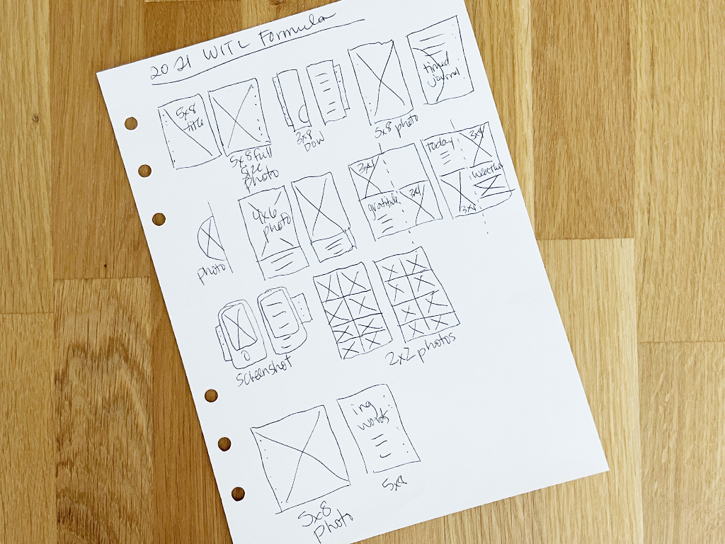 Photo showing a sketch of page layouts